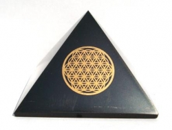 Shungite pyramid Flower of life (5cm)