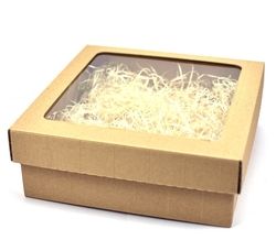 Gift box with a transparent lid and filling (wood wool) - kopie