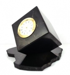 Shungit cube with clock on the holder