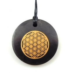 Shungit pendant flower of life circle