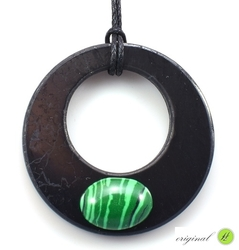 Shungit pendant wheel with malachite - kopie