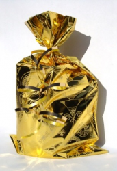 Gold gift bag with gold ribbon